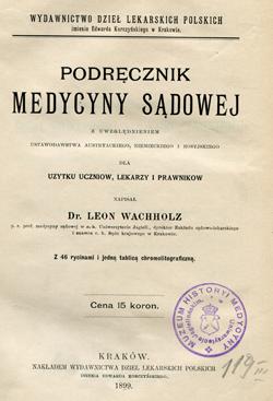 Medycyna Sądowa autorstwa Leona Wachholza