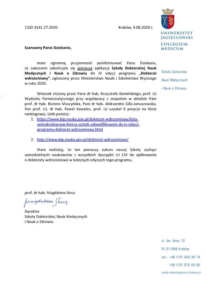 """Pierwsza aplikacja Szkoły Doktorskiej Nauk Medycznych iNauk oZdrowiu doIV edycji programu """"Doktorat wdrożeniowy"""" zakończona sukcesem"""